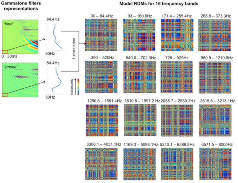 Frequency-specific model RDMs computed from Gammatone-filtered stimuli
